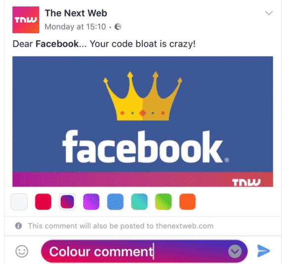 Gekleurde comments op Facebook
