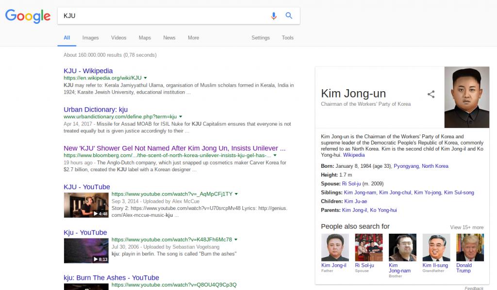 KJU on Google