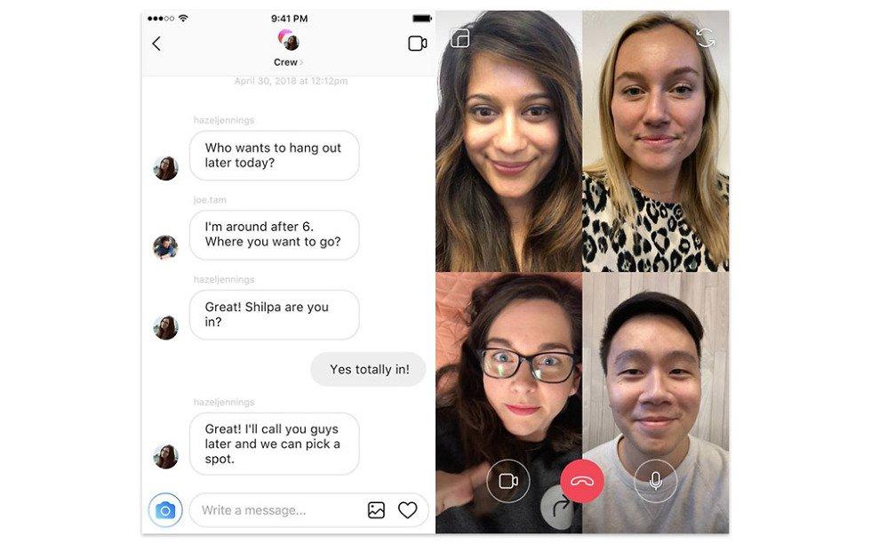 Instagram videochat functie