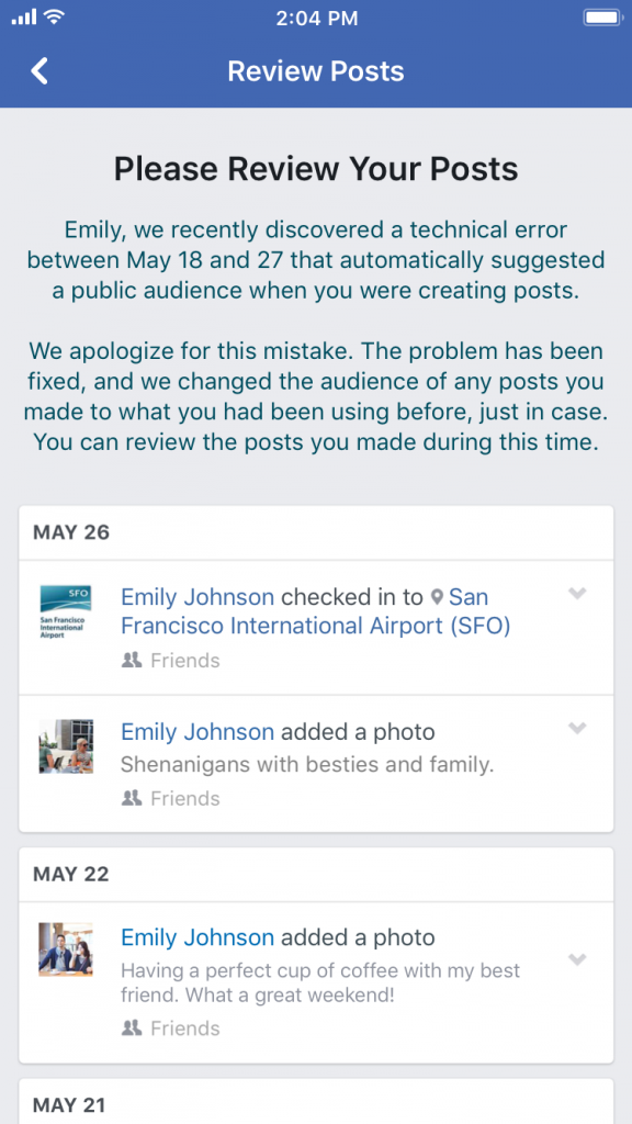 Facebook apology