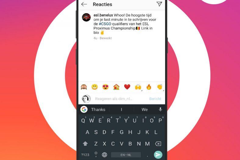 Emoji reageren Instagram